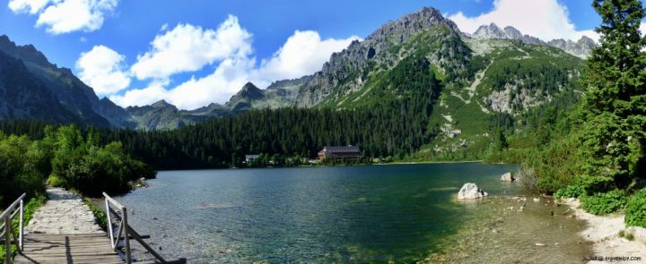 Visiting Popradské pleso glacial lake in the High Tatras, Slovakia