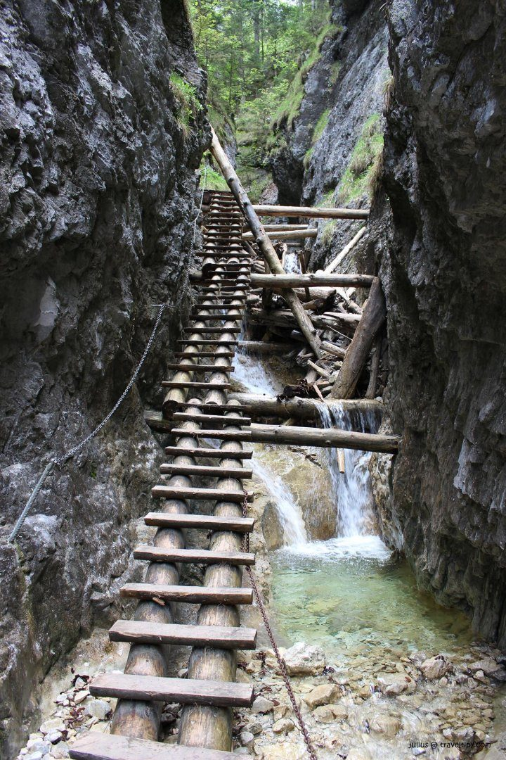 Wooden walkways and chains, Piecky Gorge, Slovak Paradise National Park