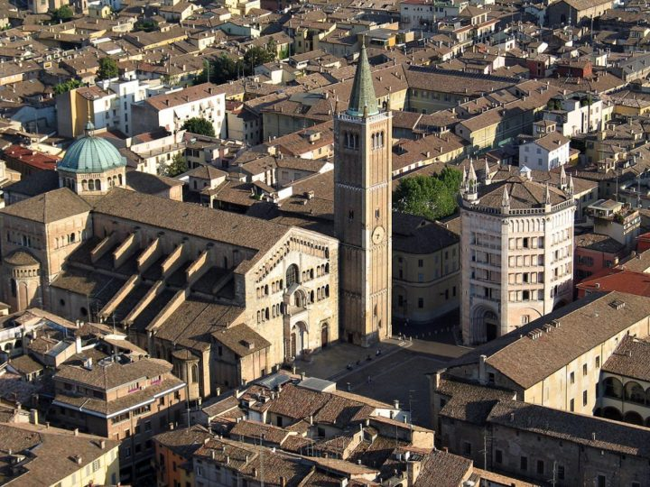 Aerial view of Duomo and Battistero, Parma, Italy