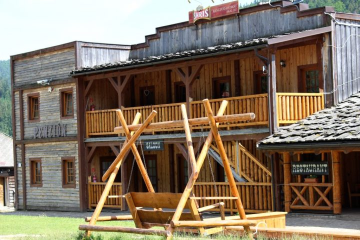 Wooden houses in style of old American Western town, Ranch pod Ostrou skalou, Slovak Paradise National Park Slovakia