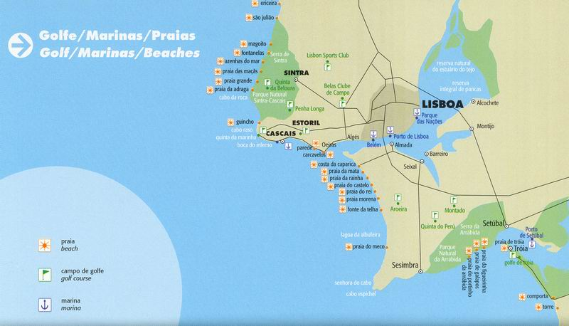 Lisbon beaches map : how to get to