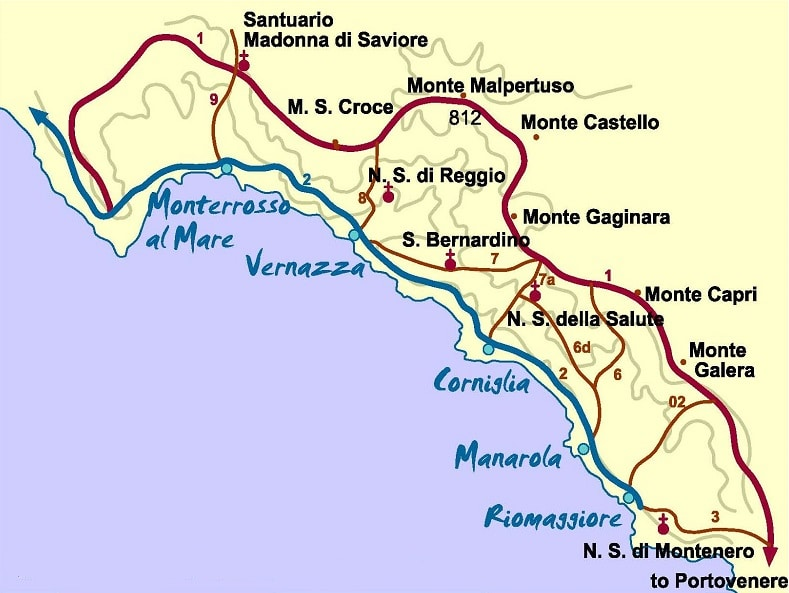 Map of Cinque Terre villages