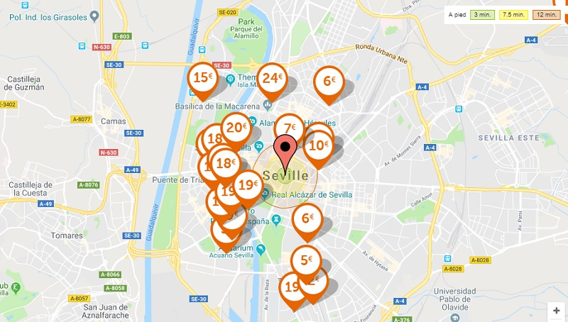 Cheap parking in Seville map