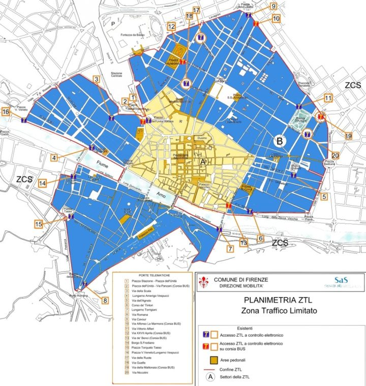 Public parkings in Florence, Map