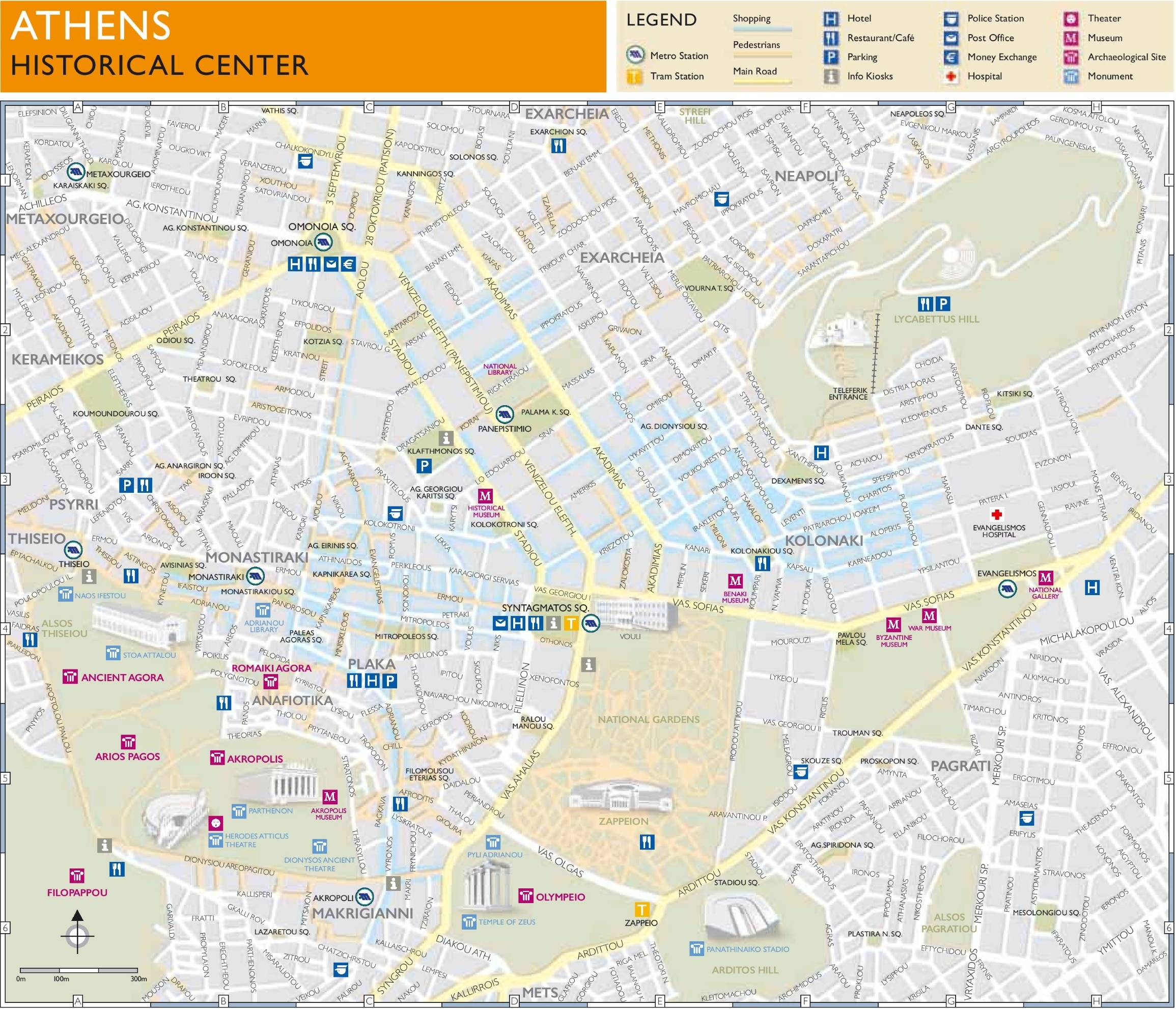 Map of Athens' historical center