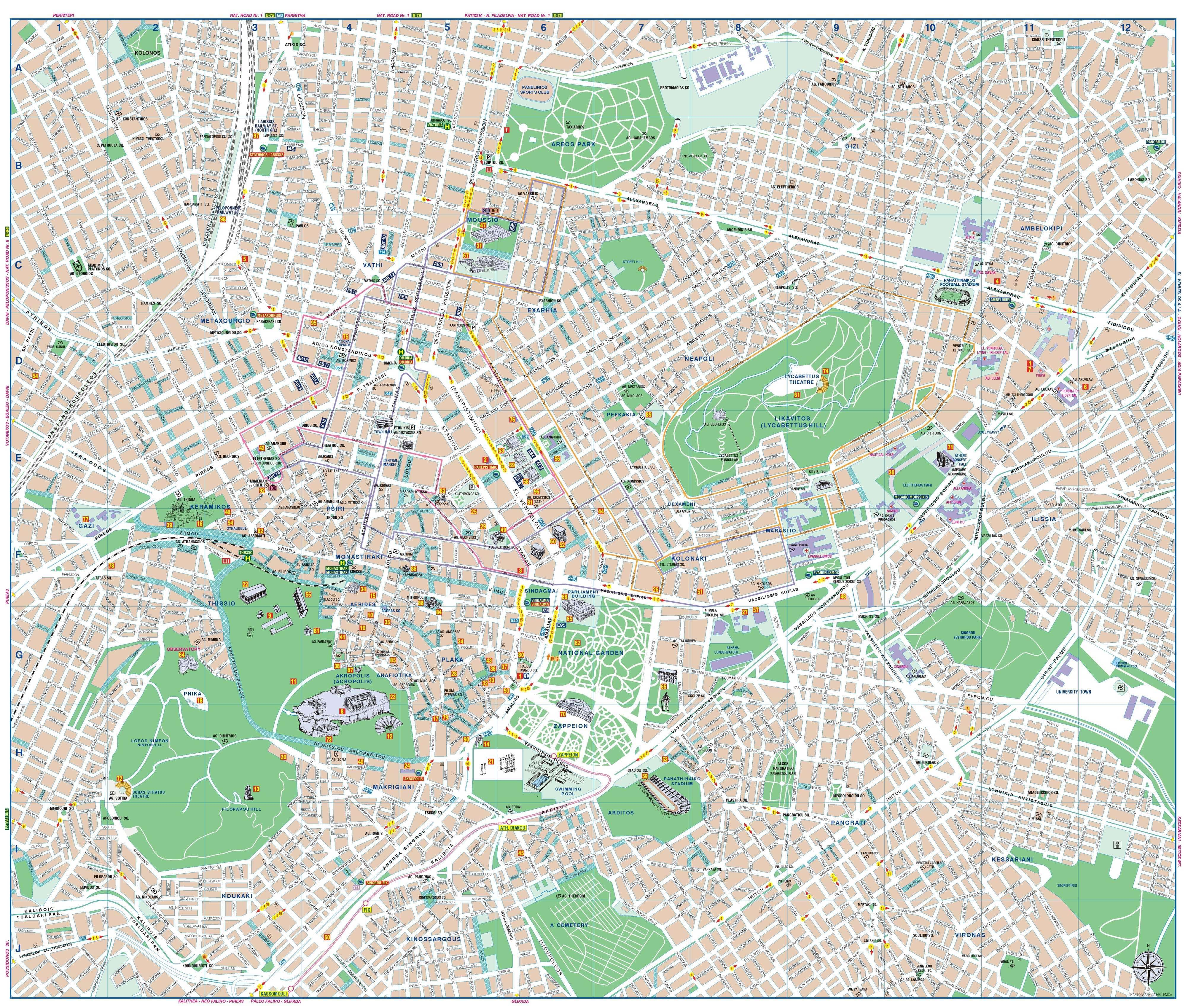 Detailed Map of Athens