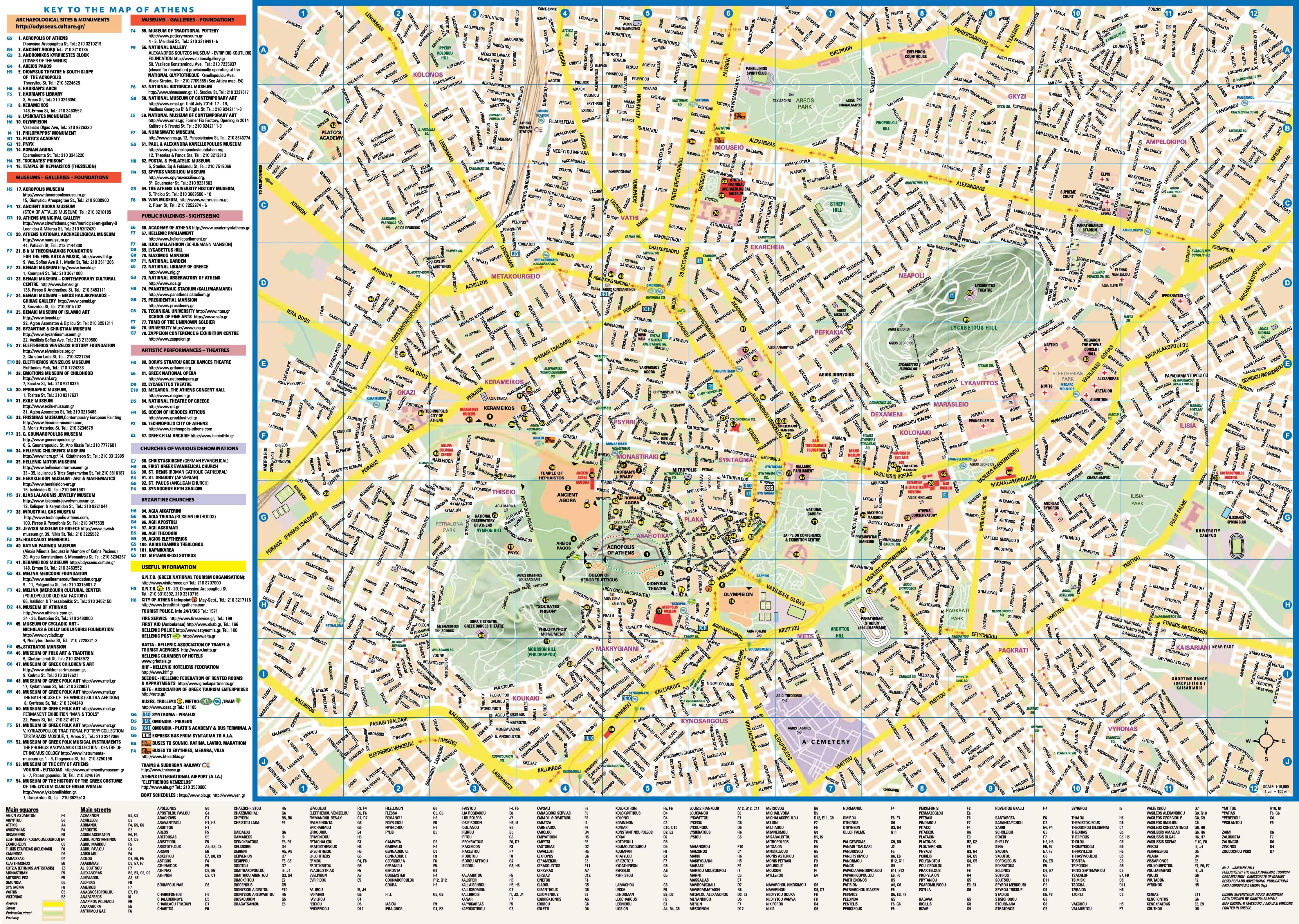 Map of Athen's tourist attractions