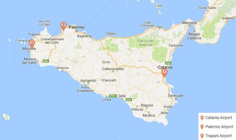 Map of airports in Sicily